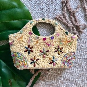 Vintage Yellow Intricately Beaded Boho Clutch